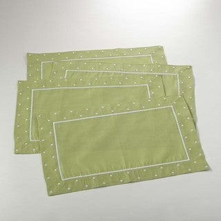 Embroidered Linen Blend Placement with Dotted Border - set of 4