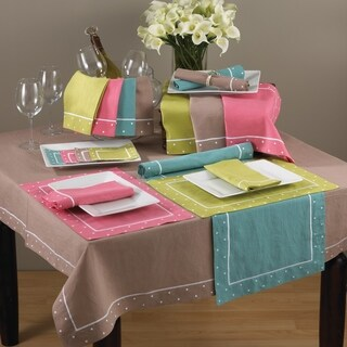 Embroidered Linen Blend Placemat with Dotted Border - set of 4 (3 options available)
