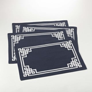 Stitched Greek Key Design Placemat - set of 4