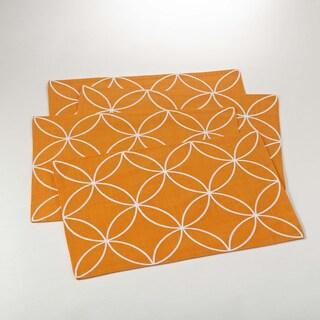 Stitched Tile Design Placemat - set of 4 (Option: Tangerine)