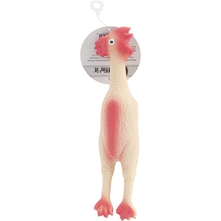 Small Rubber Chicken Dog Toy 9in Tall