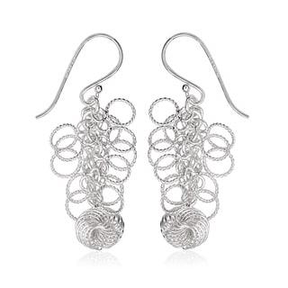 La Preciosa Sterling Silver Circle and Spiral Dangle Earrings