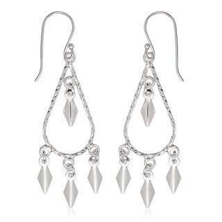 La Preciosa Sterling Silver Teardrop Designed Dangle Earrings