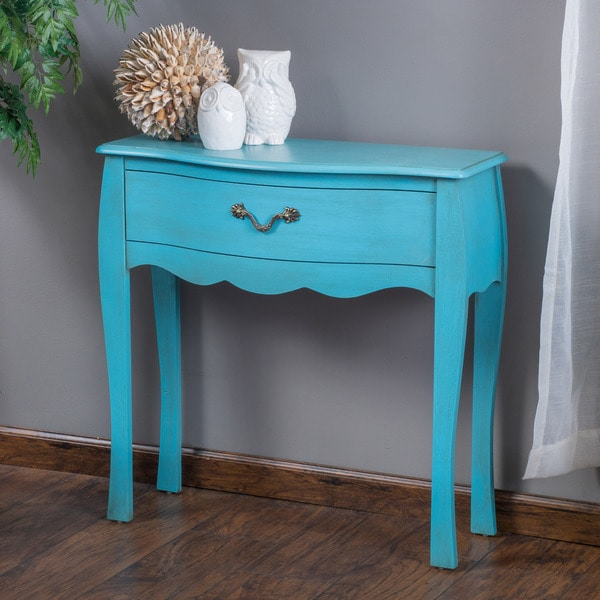 Shop rainier one drawer blue wood console table by
