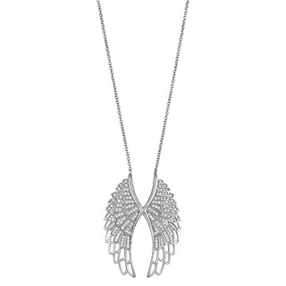 Decadence Sterling Silver Micropave Cubic Zirconia Double Wings Necklace