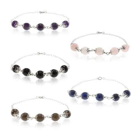 Sterling Silver Faceted Gemstone Bead Bracelet Jewelry for Womens