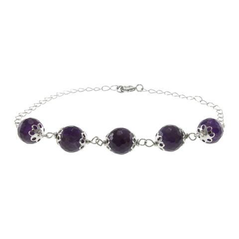 Sterling Silver Faceted Gemstone Bead Bracelet