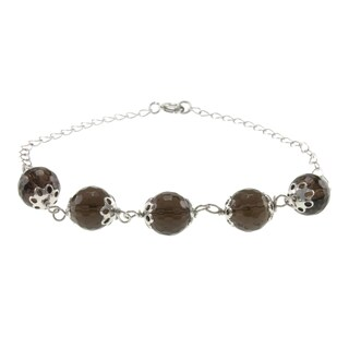 Sterling Silver Faceted Gemstone Bead Bracelet Jewelry for Womens (2 options available)