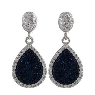 Luxiro Sterling Silver Druzy and Cubic Zirconia Teardrop Earrings