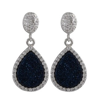 Luxiro Sterling Silver Druzy and Cubic Zirconia Teardrop Earrings