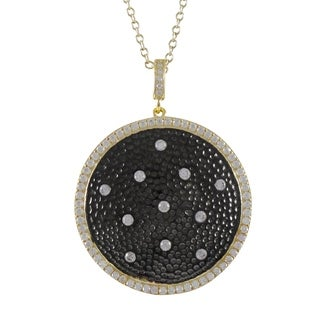 Luxiro Sterling Silver Gold and Black Finish Cubic Zirconia Pendant Necklace