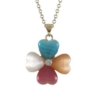 Luxiro Goldtone Acrylic Four-leaf Clover Pendant Necklace