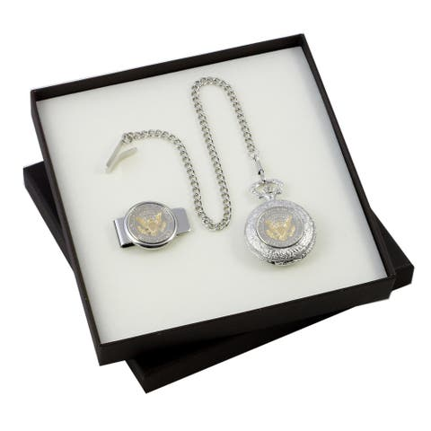 Presidential Seal Half Dollar Coin Money Clip and Pocket Watch Set