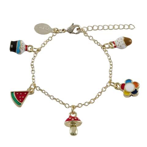 Luxiro Goldtone Children's Multi-colored Enamel Charm Bracelet - Red