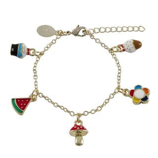 Luxiro Goldtone Children's Multi-colored Enamel Charm Bracelet