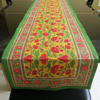 Hand Block Printed Orange and Red Floral Pattern 100-percent Cotton Table Runner (India)