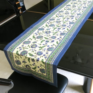 Handmade Printed Blue with Gold-leaf Overlay 100-percent Cotton Table Runner (India)