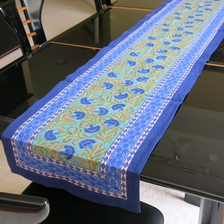 Hand Block Printed Blue Floral Print 100-percent Cotton Table Runner (India)