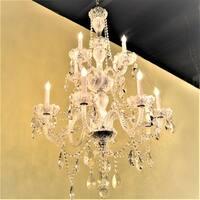 Venetian Italian Style 12-light Full Lead Crystal Chrome Finish Chandelier