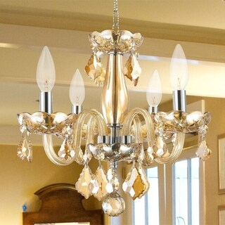 Kids Room Chandelier Modern Elegance 4-light Full Lead Amber Crystal Chrome Finish 16-inch Mini Chandelier