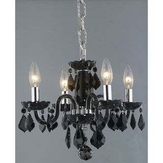 4-light Full Lead Black Crystal Chrome Finish Classic 16-inch Mini Chandelier