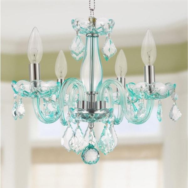 turquoise chandelier lighting. Kids Room Glamorous 4-light Full Lead Turquoise Blue Crystal Chandelier Lighting