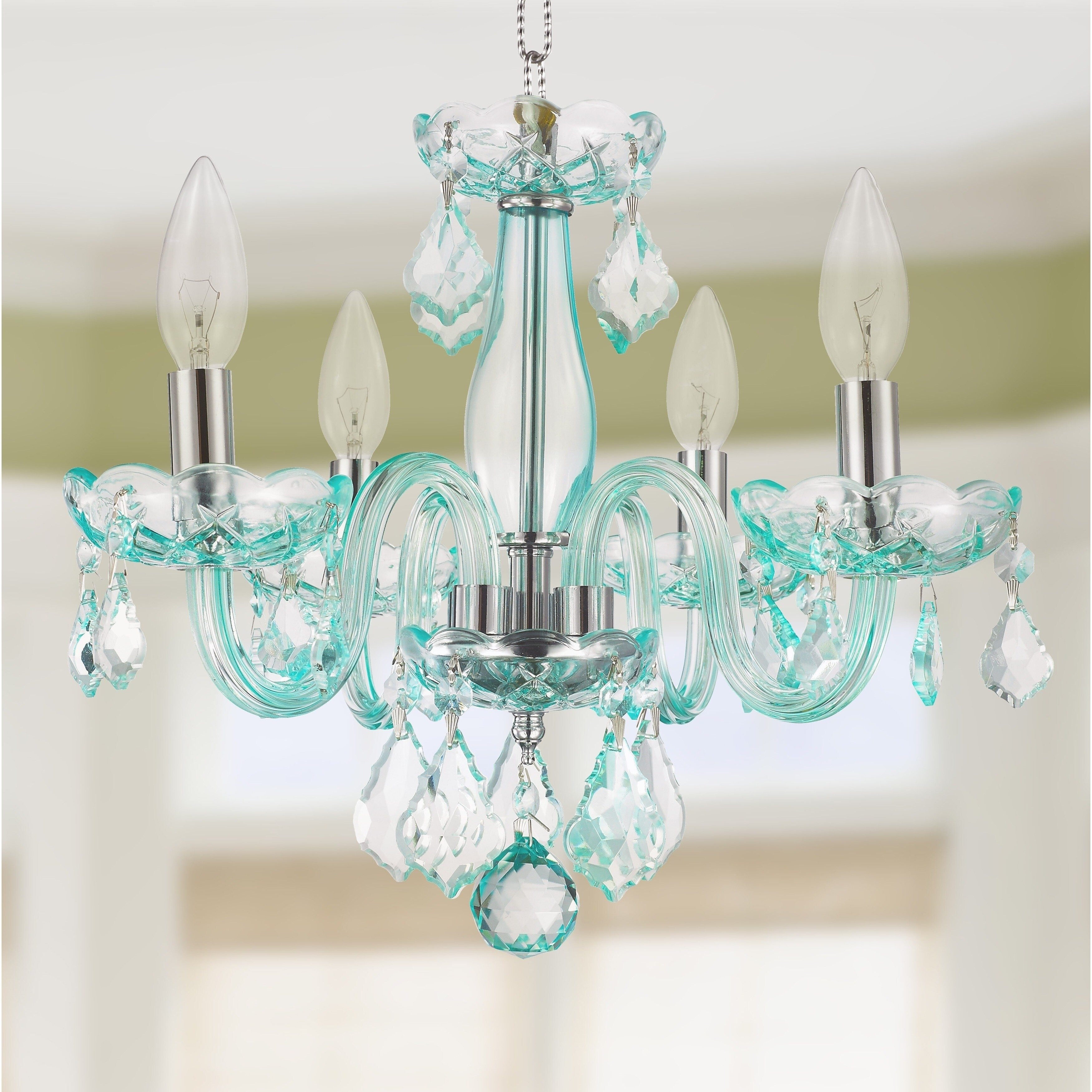 reputable site 7cb9d 1f95d Kids Room Glam 4-light 16 inch Turquoise Blue Crystal Chandelier