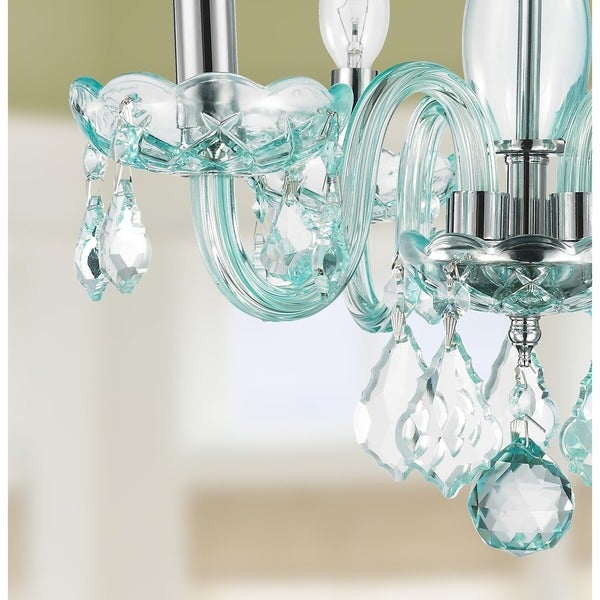 Kids room glamorous turquoise blue crystal 4 light full lead chandelier