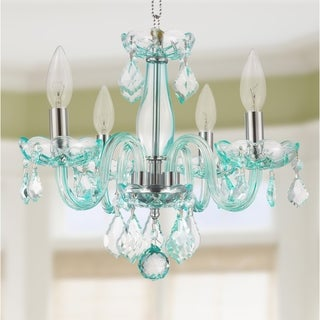 Kids' Room Glamorous Turquoise Blue Crystal 4-light Full Lead Chandelier