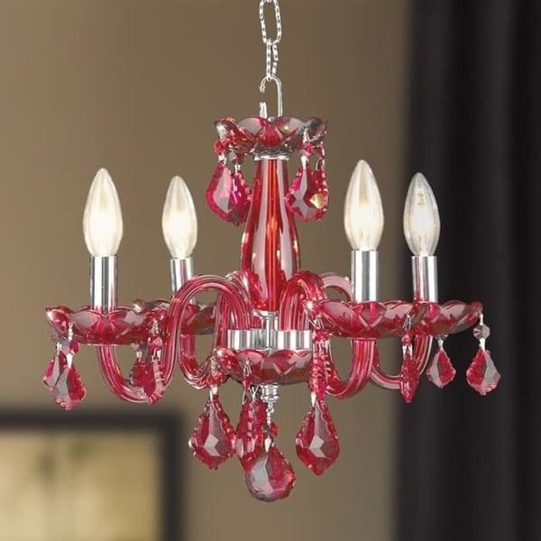 Kids room chandelier 4 light full lead cranberry red for Kids room chandelier