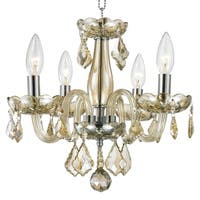 Kids Room Chandelier Metro Candelabra 4-light Full Lead Teak Golden Crystal Chrome Finish Chandelier - Champagne/Amber