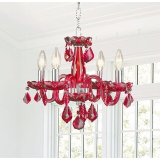 Glamorous 4-light Full Lead Strawberry Red Crystal Chrome Finish Chandelier