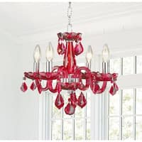 Kids Room Chandelier Glamorous 4-light Full Lead Strawberry Red Crystal Chrome Finish Chandelier