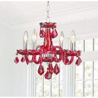 Kids Room Chandelier Glamorous 4-light Full Lead Strawberry Red Crystal Chrome Finish Chandelier