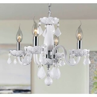 Kids Room Chandelier White Province 4-light Full Lead White Crystal Chrome Finish Chandelier
