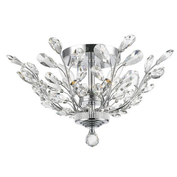 Floral Orchid Collection 4 Light Chrome Finish 20 Inch Semi Flush Mount Ceiling Light Free