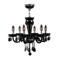 Contemporary 6-light Blown Glass in Black Finish Chandelier