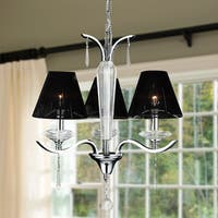 Contemporary 3-light Chrome Finish and Full Lead Crystal with Black String Shade Chandelier