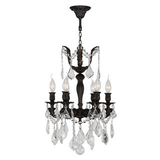 Traditional 6-light Flemish Brass Finish with Full Lead Crystal Chandelier