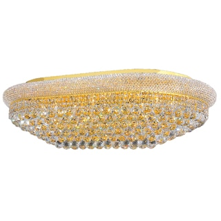 "French Empire 24-light Full Lead Crystal Gold Finish 40"" Rectangle Flush Mount Ceiling Light"