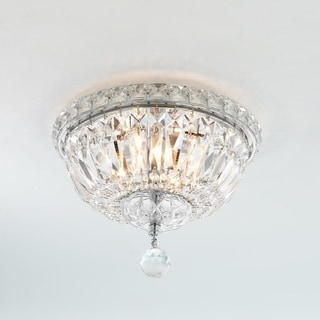 French Empire 4-light Empire Full Lead Crystal Chrome Finish Flush Mount Ceiling Light