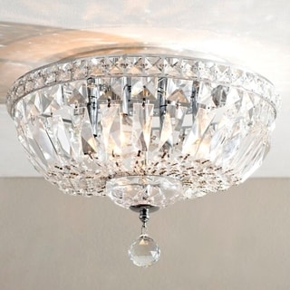 French Empire 4-light Full Chrome Finish Lead Crystal Flush Mount Ceiling Light