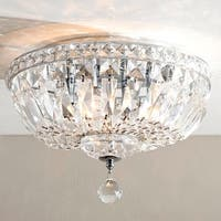 French Empire 4-light Full Chrome Finish Lead Crystal Flush Mount Ceiling Light