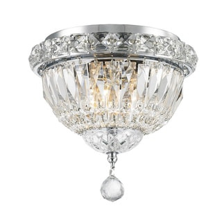 Empire 3-light Chrome Finish Full Lead Crystal Flush Mount Ceiling-light