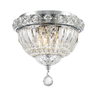 French Empire 3-light Chrome Finish Full Lead Crystal Flush Mount Ceiling Light