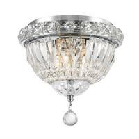 French Empire 3-light Chrome Finish Full Lead Crystal Flush Mount Ceiling Light