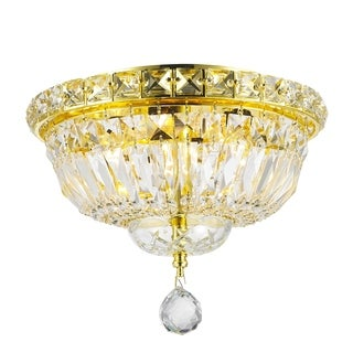 French Empire Flush Mount 4-light Full Lead Crystal Gold Finish Ceiling-light