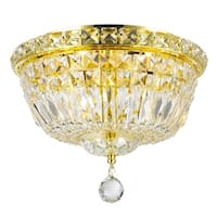French Empire 4-light Empire Full Lead Crystal Gold Finish Flush Mount Ceiling Light