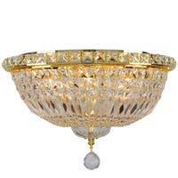 French Empire 6-light Full Lead Crystal Gold Finish Flush Mount Ceiling Light