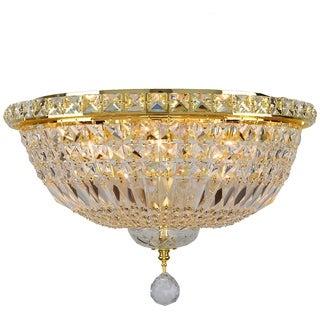 French Empire 6-light Full Lead Crystal Gold Finish Flush Mount Ceiling Light